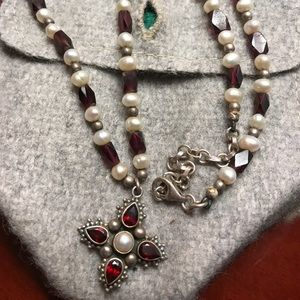 Jewelry - Garnet and Pearl Sterling Silver Necklace